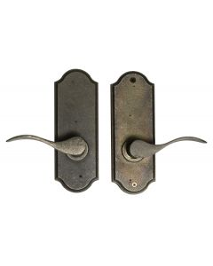 Weslock Carlow Left Handed Bed/Bath Door Lever Set with Sutton Premiere Rosette from the Molten Bronze Collection, Weathered Pewter