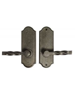 Weslock Monoghan Left Handed Bed/Bath Door Lever Set with Sutton Premiere Rosette from the Molten Bronze Collection, Weathered Pewter