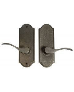 Weslock Carlow Right Handed Bed/Bath Door Lever Set with Sutton Premiere Rosette from the Molten Bronze Collection, Weathered Pewter