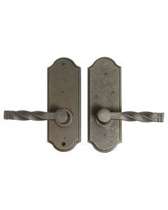 Weslock Monoghan Right Handed Bed/Bath Door Lever Set with Sutton Premiere Rosette from the Molten Bronze Collection, Weathered Pewter
