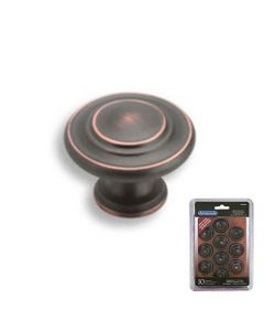 Amerock Inspirations 1-1/4 in. (32mm) Cabinet Knob Oil-Rubbed Bronze - TEN1586ORB - 10 Pack