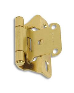 Baltimore Hardware #3302 Semi-Concealed Self Closing Hinge, Brass Finish, 1/4 in. Overlay - Sold as Pair